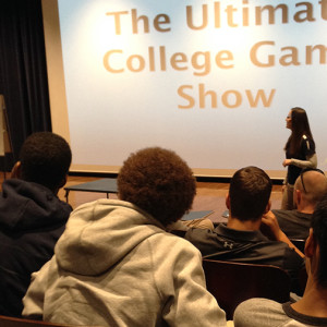 Battle high school students compete in a money stacks college game show