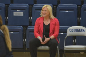 Women's volleyball coach and former player Melinda Wrye-Washington earned a spot on Columbia College Athletics' Wall of Honor. (Photo by Cindy Potter)