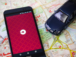 map, car and phone, uber