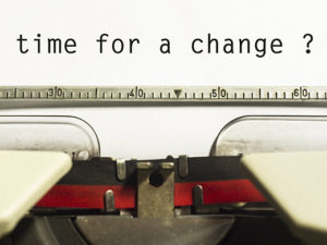 time for a change typewriter graphic