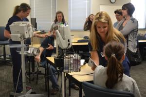 Student nurses practice
