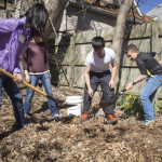 International Club student Mingcheng Xia, second from right, teaches students about compost.