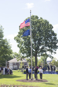 The flag detail raises the Colors on Bass Commons during the Military Recognition Day ceremony.