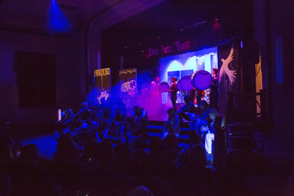 """The music groups and art students came together for the show's finale, featuring the CC Drum Line, performing Imagine Dragons' """"Radio Active."""""""