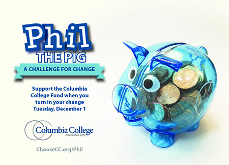 Help Phil the Pig collect change on #GivingTuesday