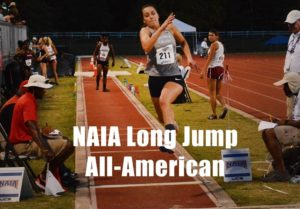Freshman Abby Stricker, who finished second nationally in the long jump at NAIA Outdoor Nationals.