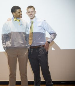 Brandyn Chambers (left) and Trent Finley at the 'Trep Week pitch competition in April. (Photo by Kaci Smart)