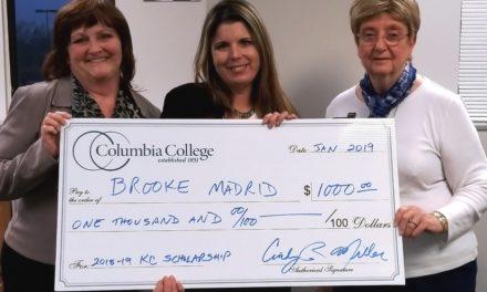 Columbia College-Kansas City awards location scholarship to Brooke Madrid