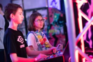Two kids playing games
