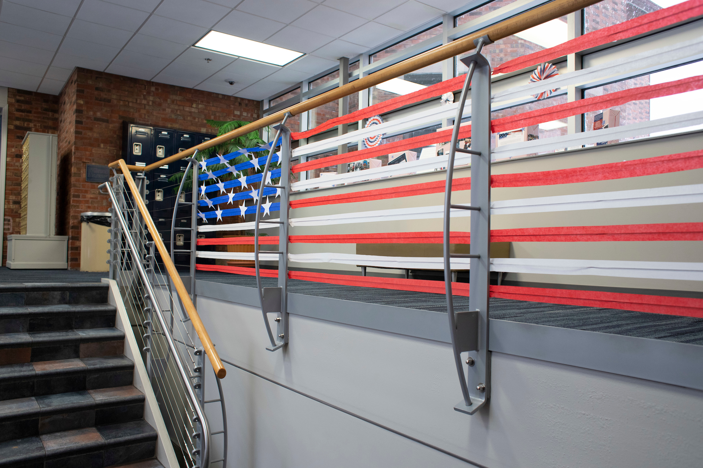 American Flag streamers in Dorsey Hall