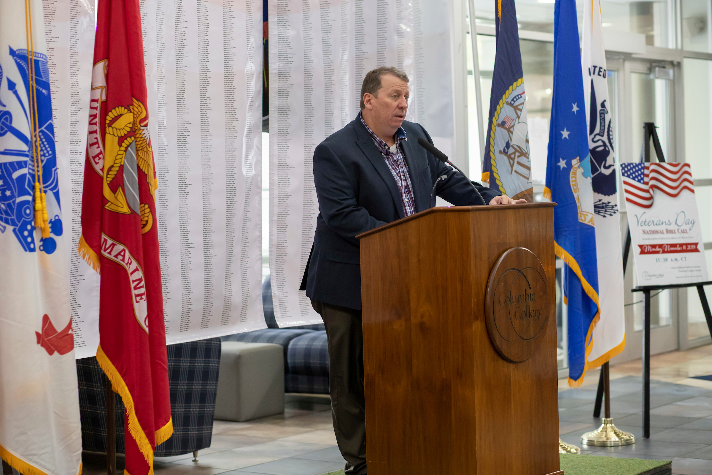 Senior Director of Military & Veterans Services Keith Glindemann presides over the college's National Roll Call.