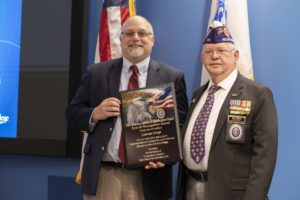 Columbia College President Dr. Scott Dalrymple (left) and Walt Schley, Commander of the Missouri chapter of the Military Order of the Purple Heart