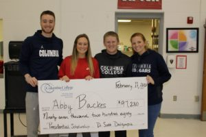 Abby Backes with basketball staff