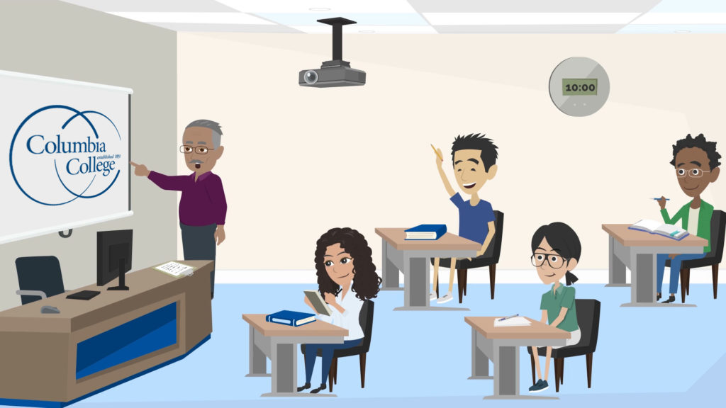 Cartoon image illustrating High Flex virtual instruction at Columbia College