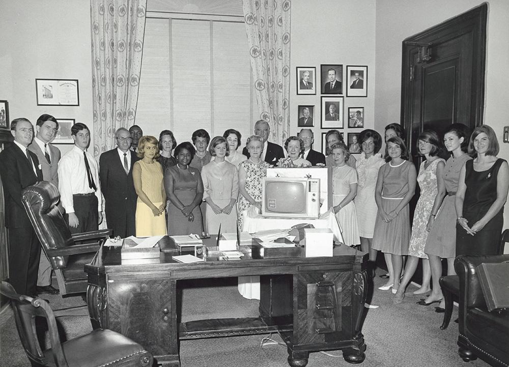 Joan Puchta Pata with the staff of former Missouri Senator Stuart Symington