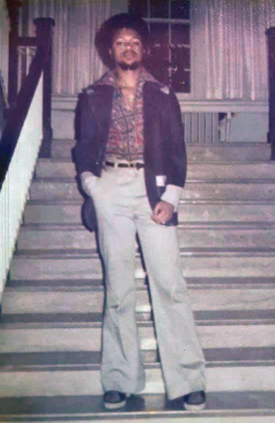 Bill Seibert on the steps of Missouri Hall during the 1974-75 school year