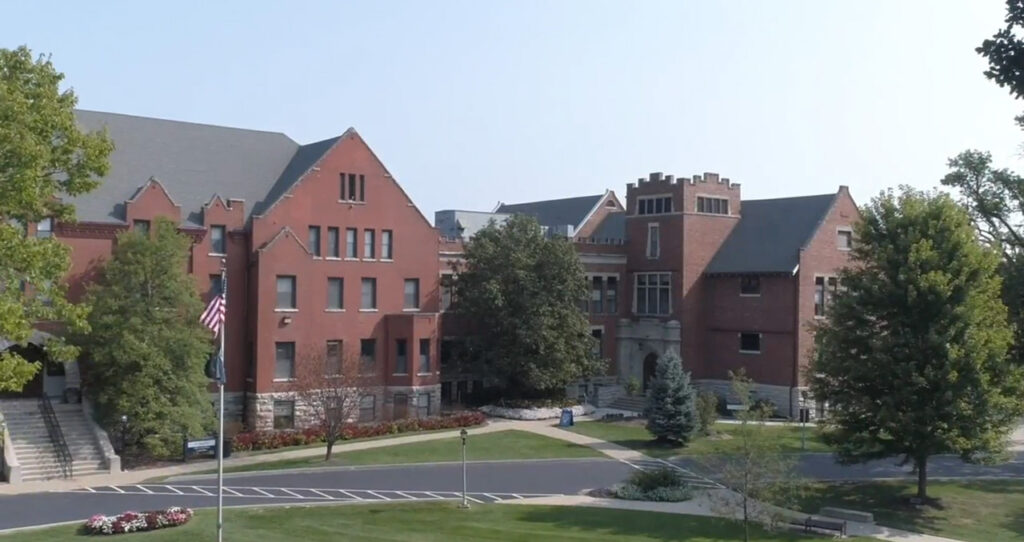 Drone footage over Bass Commons showing St. Clair and Dorsey Hall