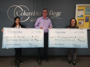 Denver scholarship winners with oversized scholarship checks