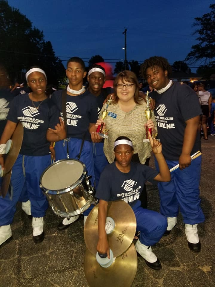 Stephanie Johnson with kids from the Boys and Girls Club