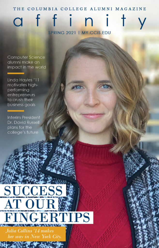 Cover image of the Spring 2021 issue of Affinity Maganize. Straight-on image of a woman smiling confidently at the camera.
