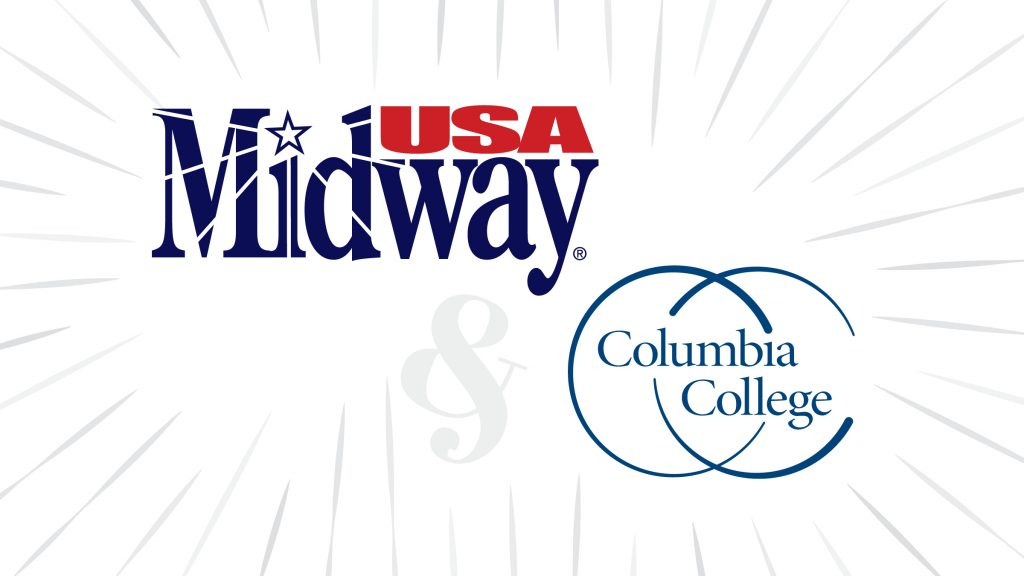 graphic showing both the MidwayUSA and Columbia College logos to convey their partnership